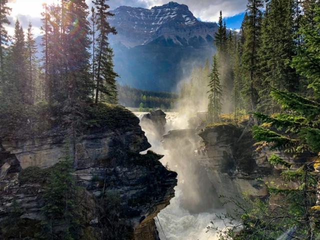 Water mist at Athabasca Falls, AB #olafincanada #alberta #rockies #athabascafalls #icefieldsparkway