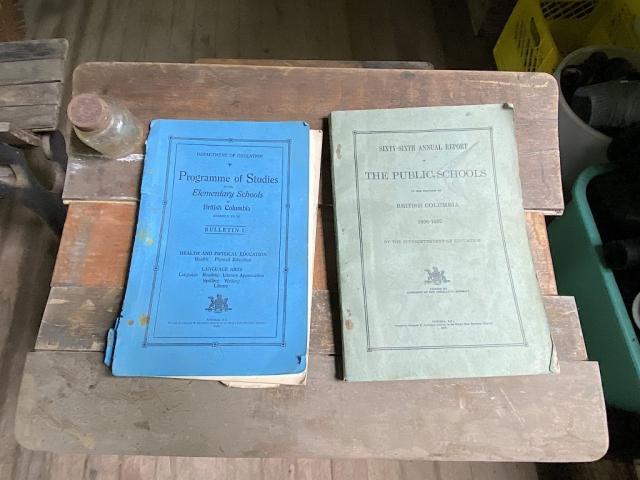School books on a desk in the Alice Arm elementary school #olafincanada #britishcolumbia #discoverbc #abandonedbc #alicearm #school