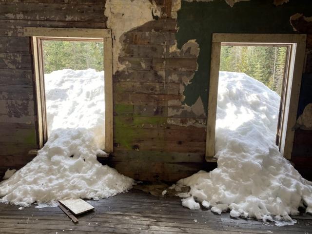 Snow inside former station house Cody #olafincanada #britishcolumbia #discoverbc #abandonedbc #cody