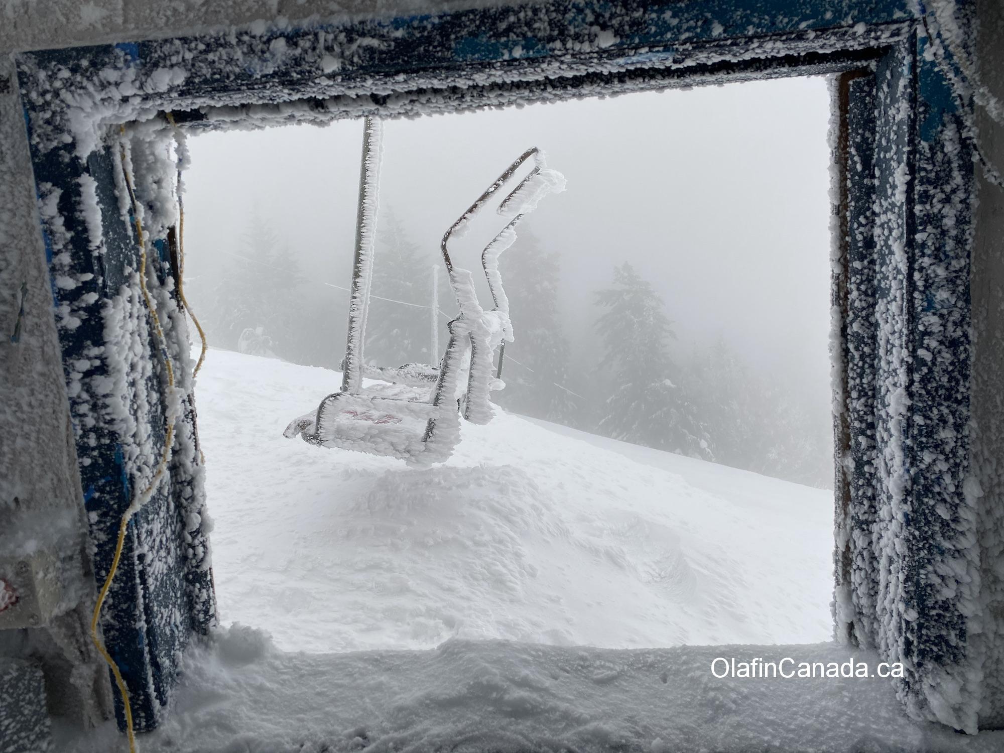 Frozen chair on abandoned ski resort Crystal Mountain in West Kelowna #olafincanada #britishcolumbia #discoverbc #abandonedbc #crystalmountain #westkelowna