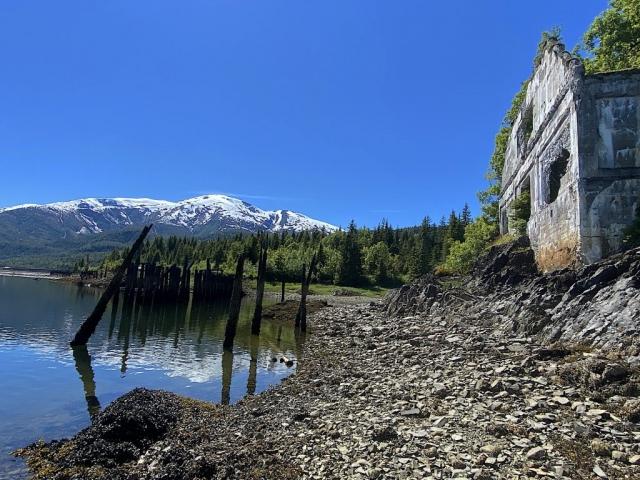 Former general store and mountain view at Anyox #olafincanada #britishcolumbia #discoverbc #abandonedbc #anyox