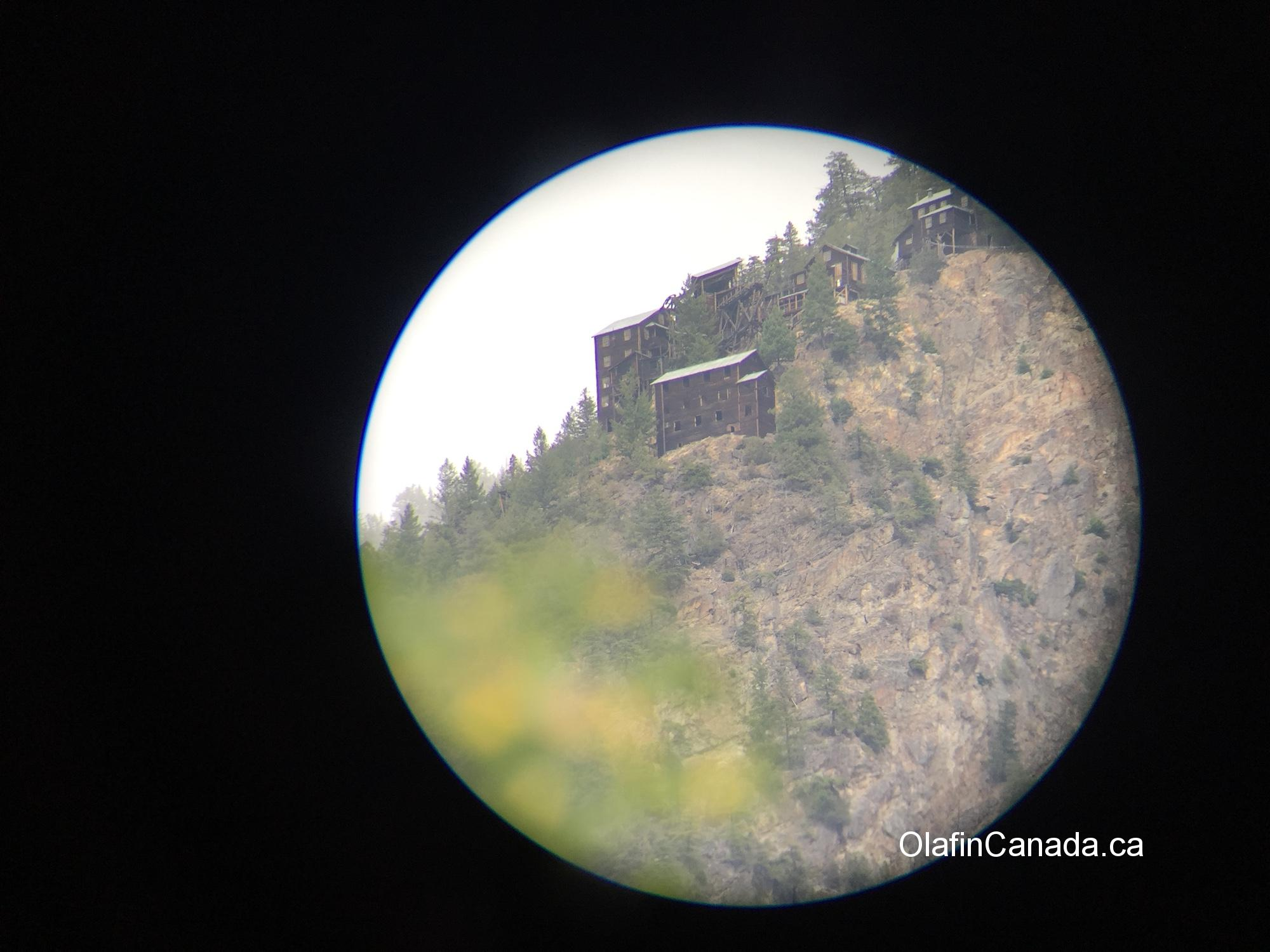 Abandoned Mascot mine on the hill behind Hedley, seen through binoculars #olafincanada #britishcolumbia #discoverbc #abandonedbc #hedley #mascotmine