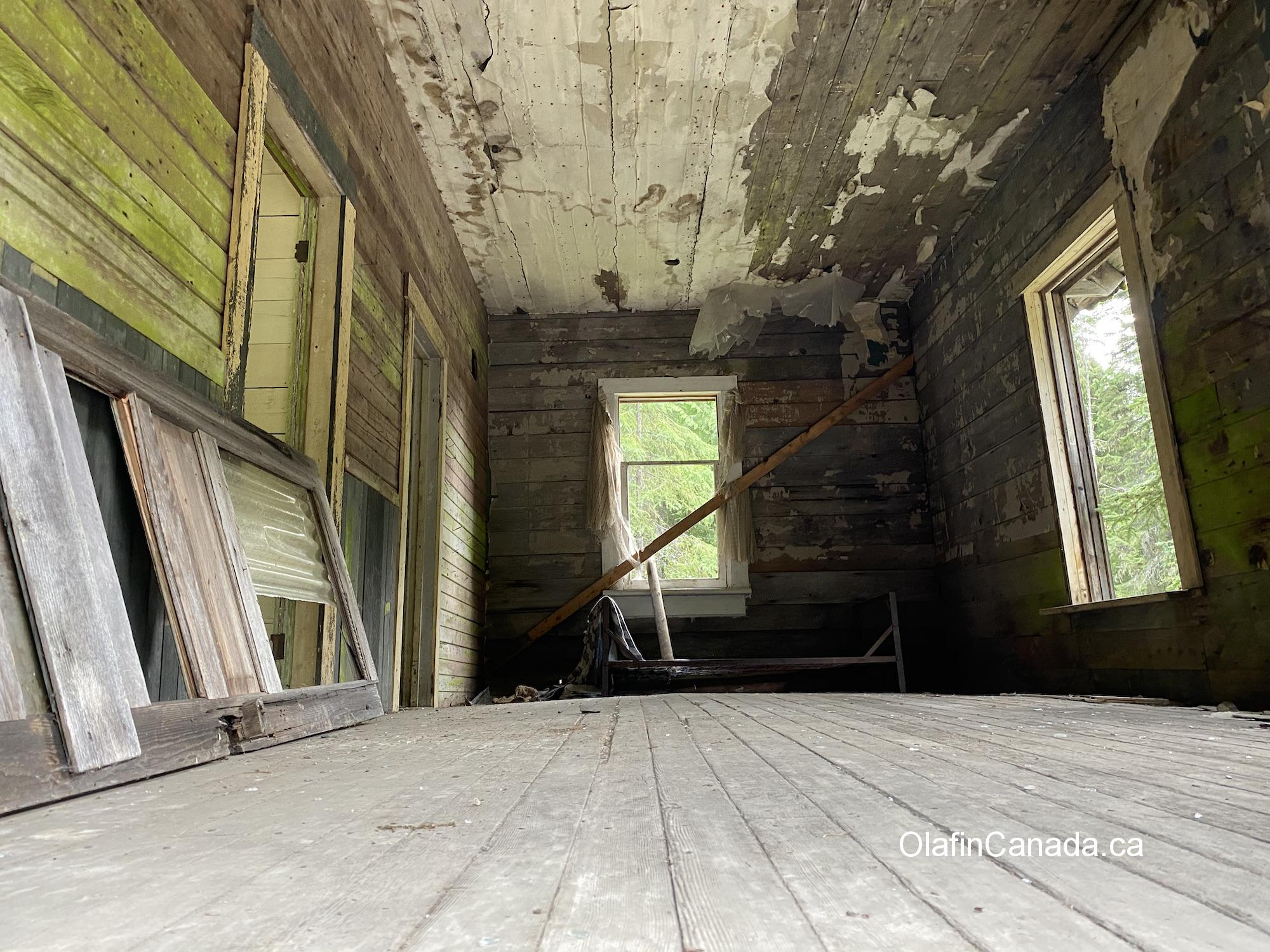 Bedroom in the station house, seen from the floor #olafincanada #britishcolumbia #discoverbc #abandonedbc #cody