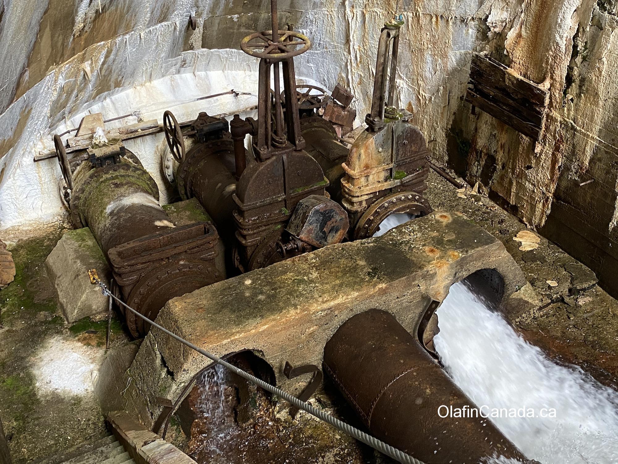 A working water pump in the dam at Anyox #olafincanada #britishcolumbia #discoverbc #abandonedbc #anyox #dam