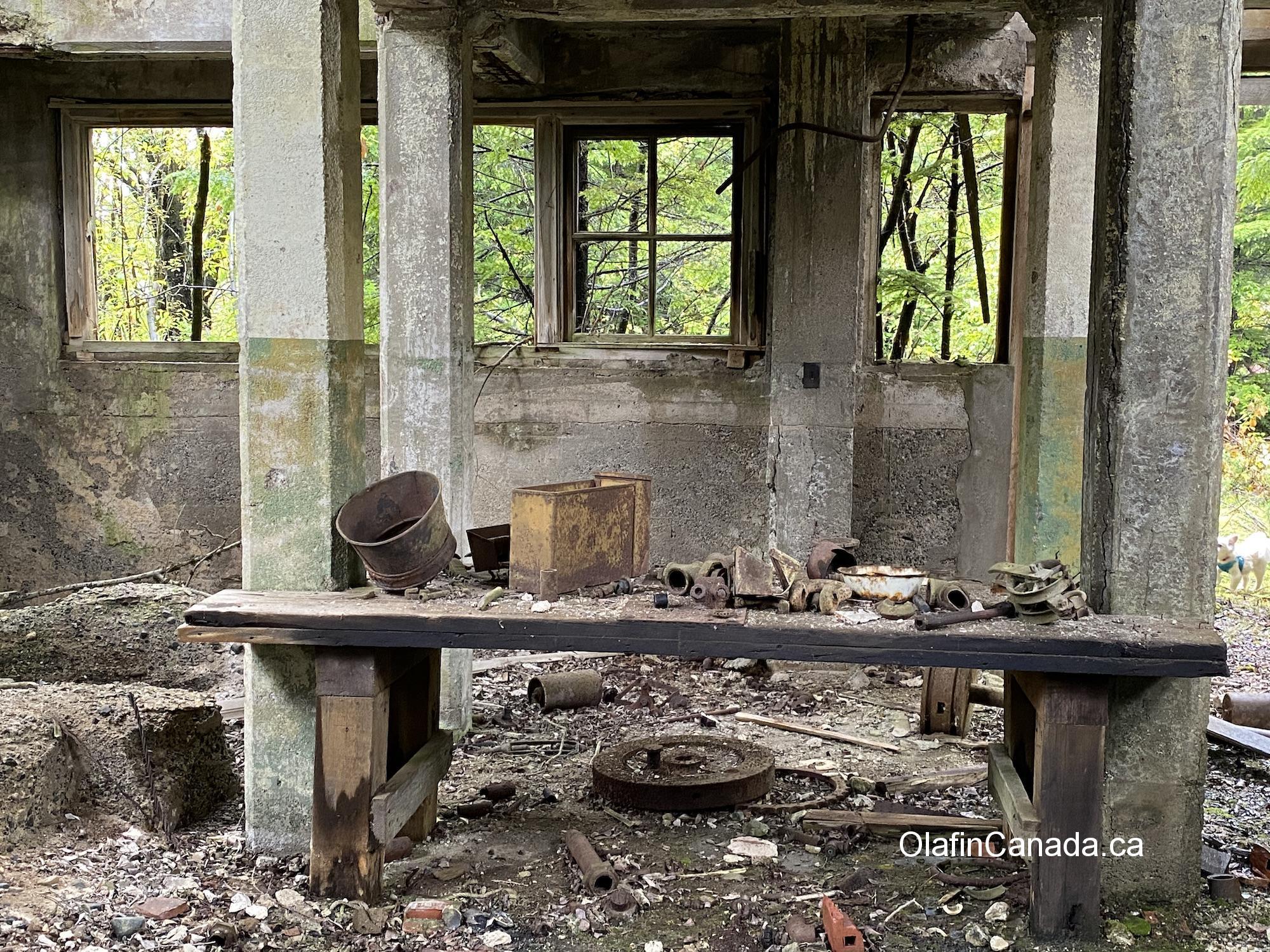 Deserted crafting table in factory at Anyox #olafincanada #britishcolumbia #discoverbc #abandonedbc #anyox