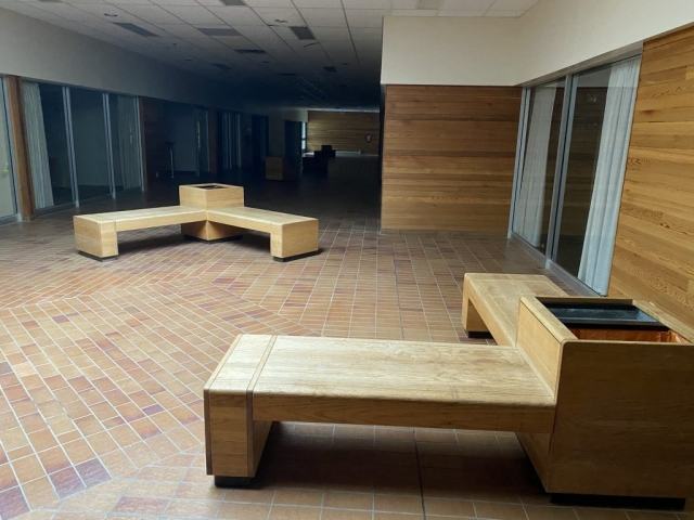 Seating area in the mall in Kitsault #olafincanada #britishcolumbia #discoverbc #abandonedbc #kitsault #mall