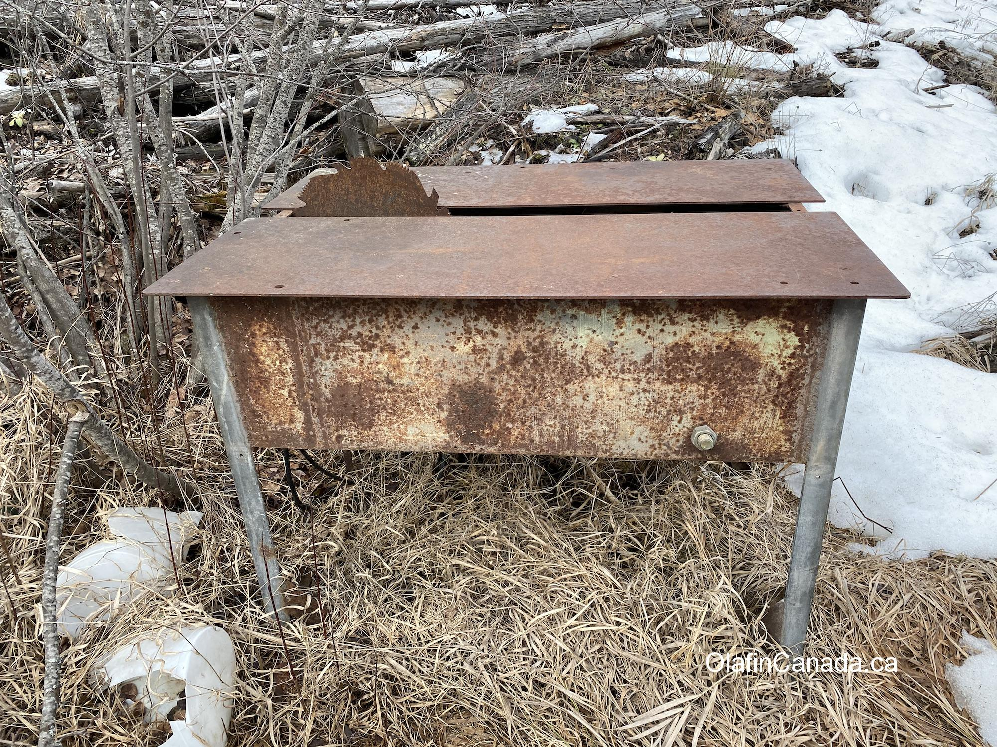 Abandoned saw table near cabin on Dunn Lake Road, close to Clearwater #olafincanada #britishcolumbia #discoverbc #abandonedbc #clearwater
