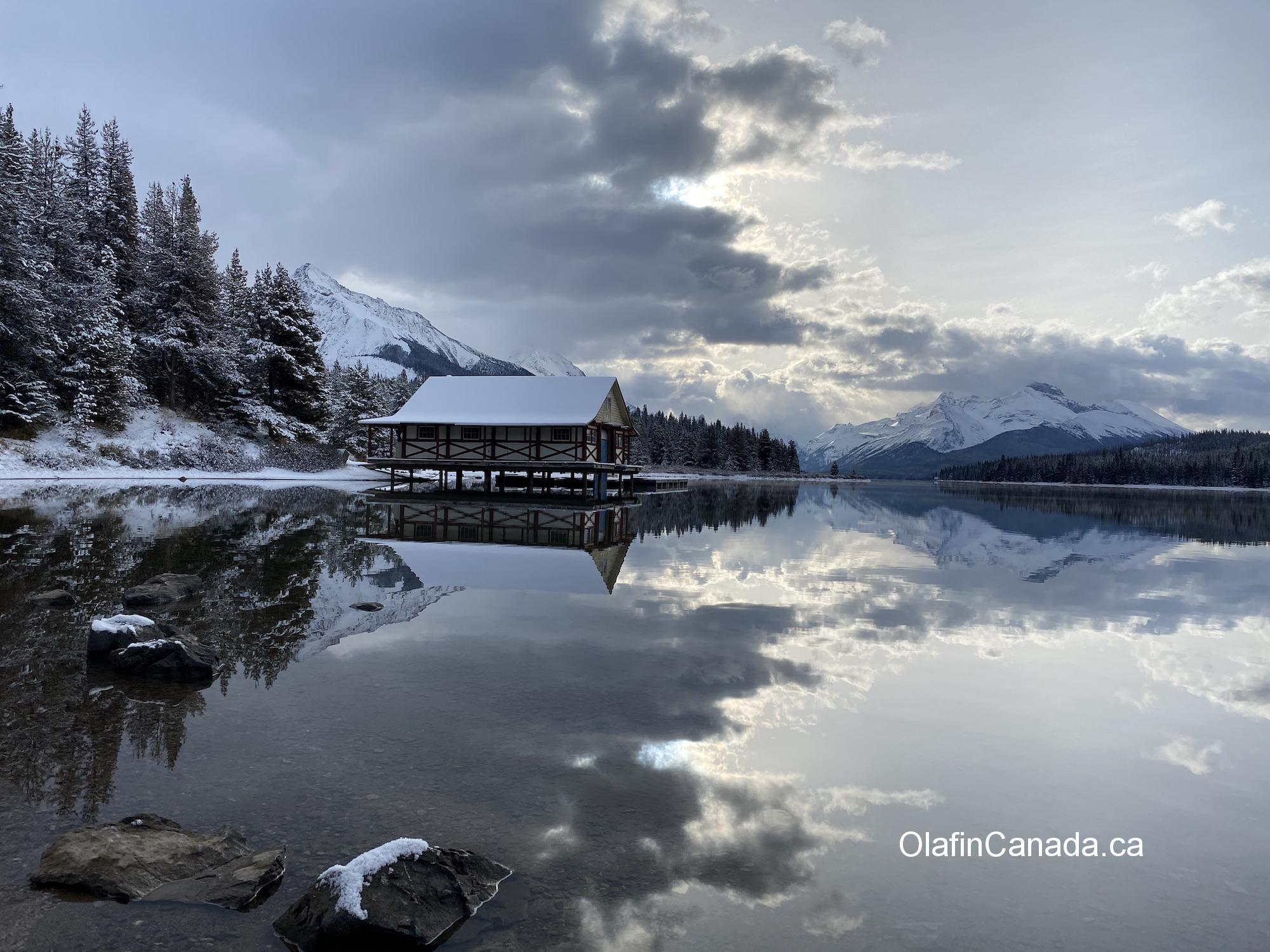 Maligne Lake boathouse in Jasper, AB #olafincanada #alberta #rockies #jasper #malignelake #boathouse