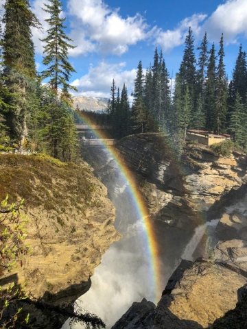 Rainbow at Athabasca Falls in Alberta #olafincanada #alberta #rockies #athabascafalls #icefieldsparkway #rainbow