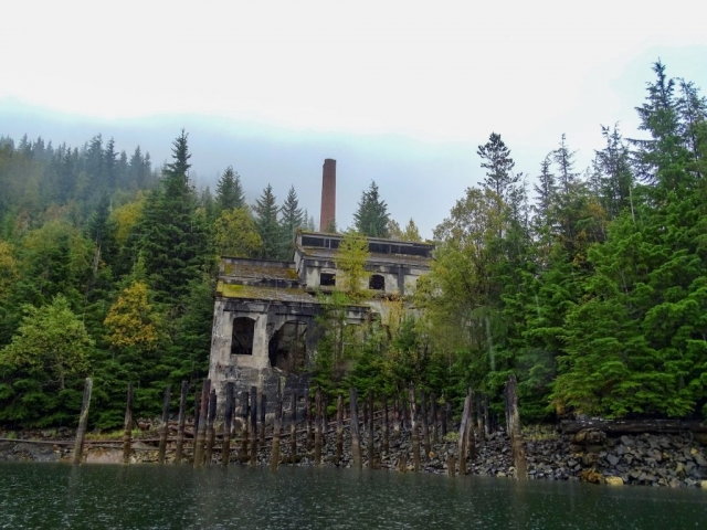 The Anyox Coking plant and stack reaching out above the forest #olafincanada #britishcolumbia #discoverbc #abandonedbc #anyox