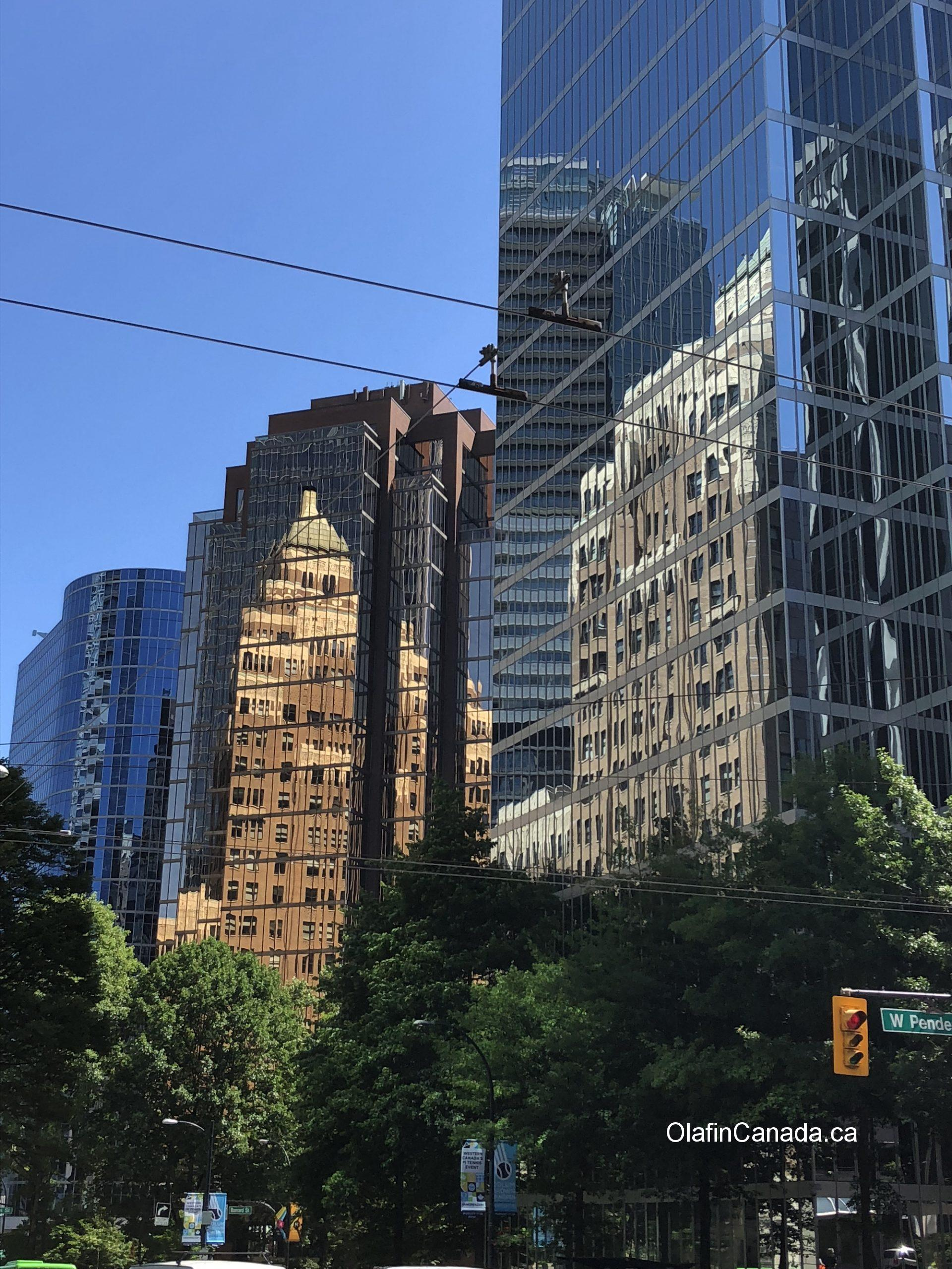 Reflected buildings in downtown Vancouver BC #olafincanada #britishcolumbia #discoverbc #vancouver #reflections