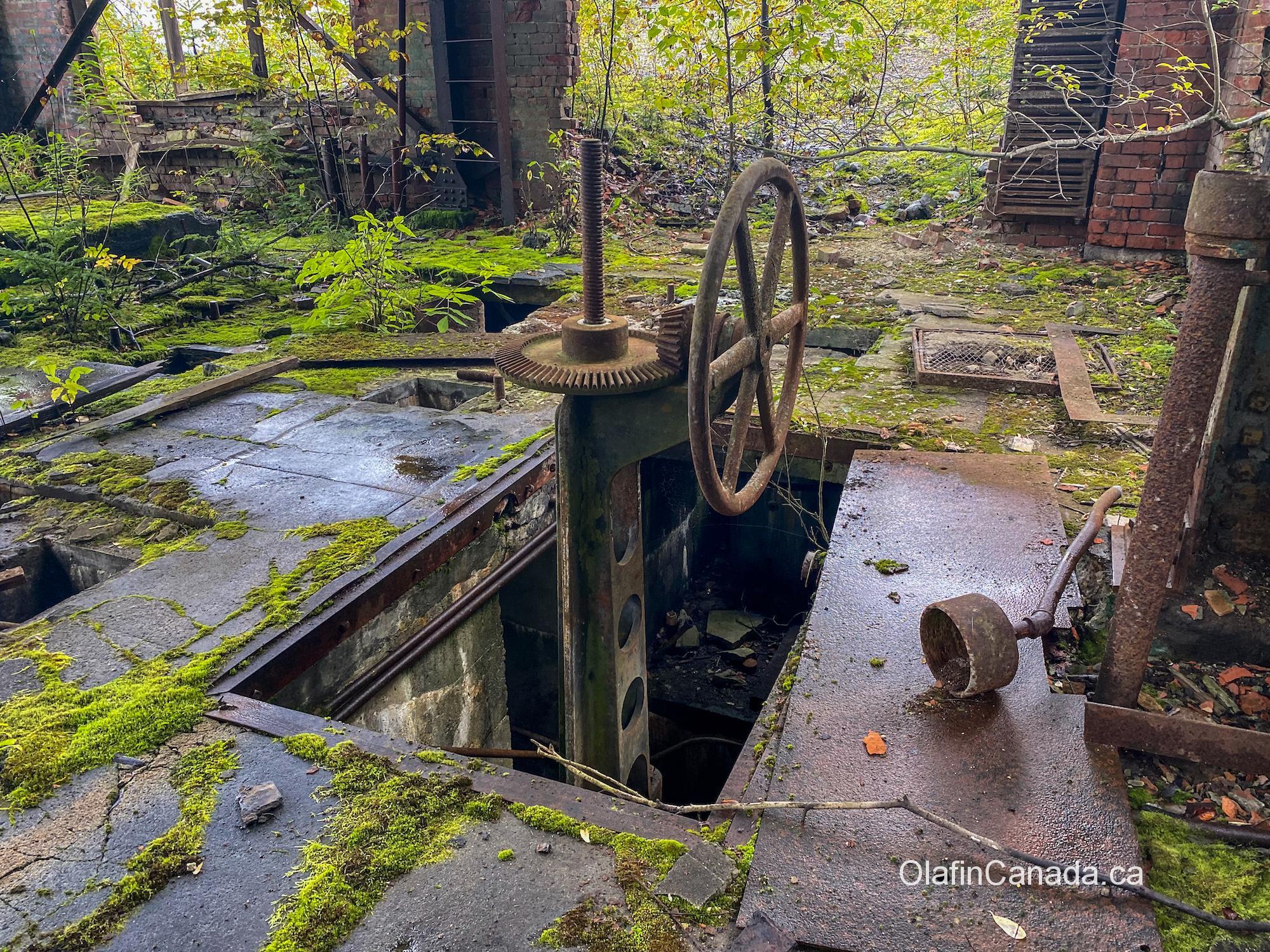 Steering wheel for the turbines inside the powerhouse No. 1 at Anyox #olafincanada #britishcolumbia #discoverbc #abandonedbc #anyox #powerhouse
