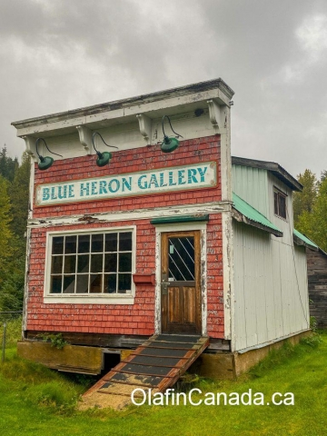 Blue Heron Art Gallery in Alice Arm, moved from Prince Rupert and is now an office for mineral exploration. #olafincanada #britishcolumbia #discoverbc #abandonedbc #alicearm #blueheron