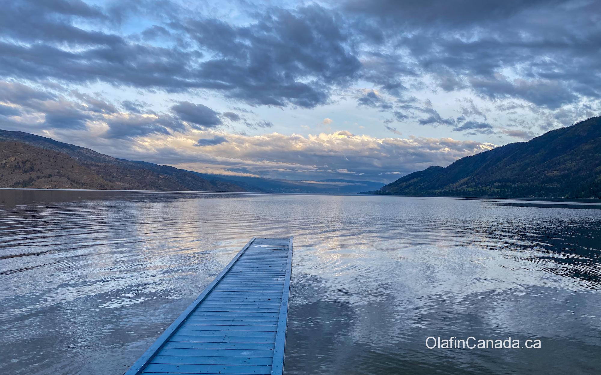 Blue floating dock in Okanagan Lake #olafincanada #britishcolumbia #discoverbc #okanaganlake #peachland