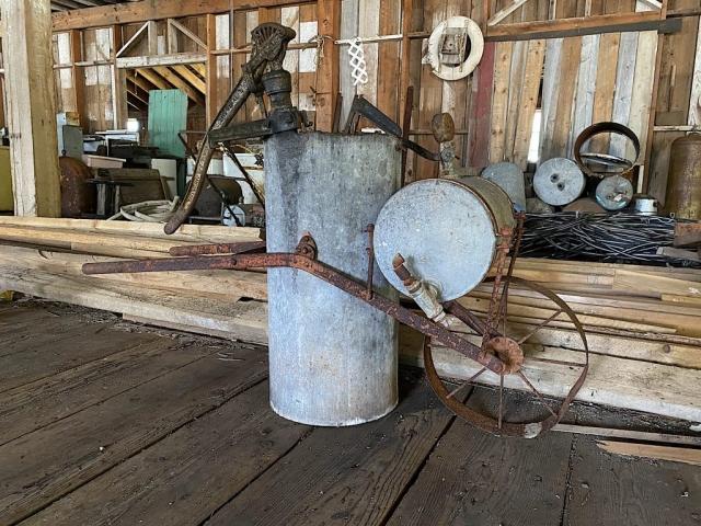 This wheel barrow pump could clean remotely #olafincanada #britishcolumbia #discoverbc #abandonedbc #tallheocannery #bellacoola
