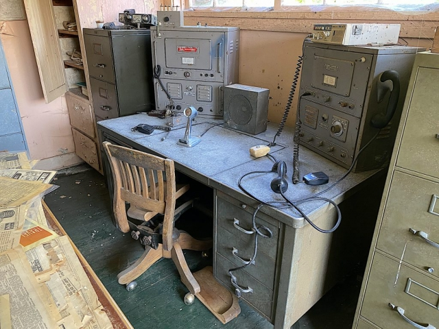 The operator station at the Tallheo Cannery in Bella Coola Old perforator full of cobwebs in the office #olafincanada #britishcolumbia #discoverbc #abandonedbc #tallheocannery #bellacoola