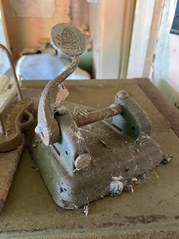 Old perforator full of cobwebs in the office #olafincanada #britishcolumbia #discoverbc #abandonedbc #tallheocannery #bellacoola