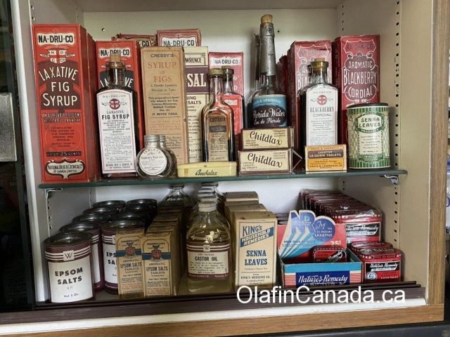 Pharma products at the General Store in 153 Mile House #olafincanada #britishcolumbia #discoverbc #abandonedbc #153milehouse #generalstore #backintime