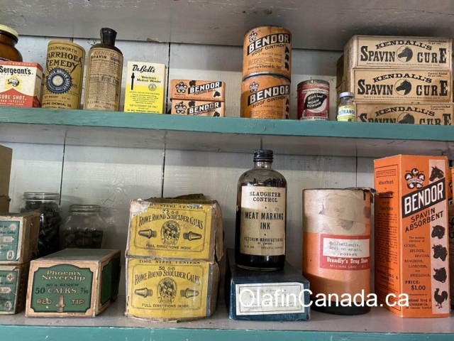 Animal pharma products at the General Store in 153 Mile House #olafincanada #britishcolumbia #discoverbc #abandonedbc #153milehouse #generalstore #backintime