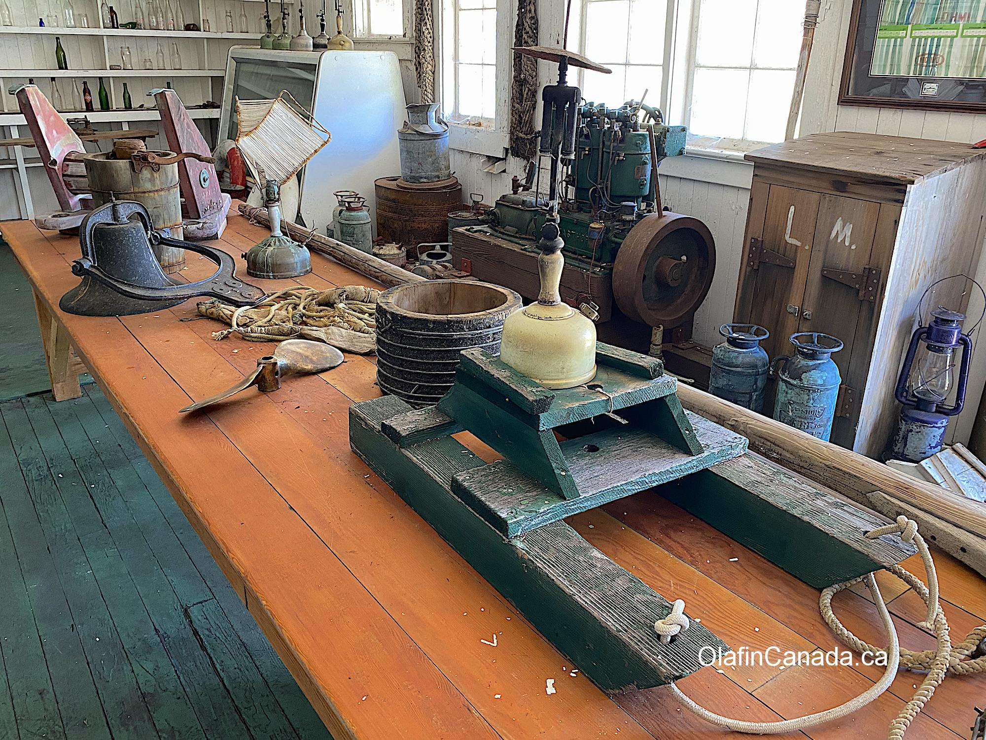 Items in the shop at the Tallheo Cannery in Bella Coola #olafincanada #britishcolumbia #discoverbc #abandonedbc #tallheocannery #bellacoola