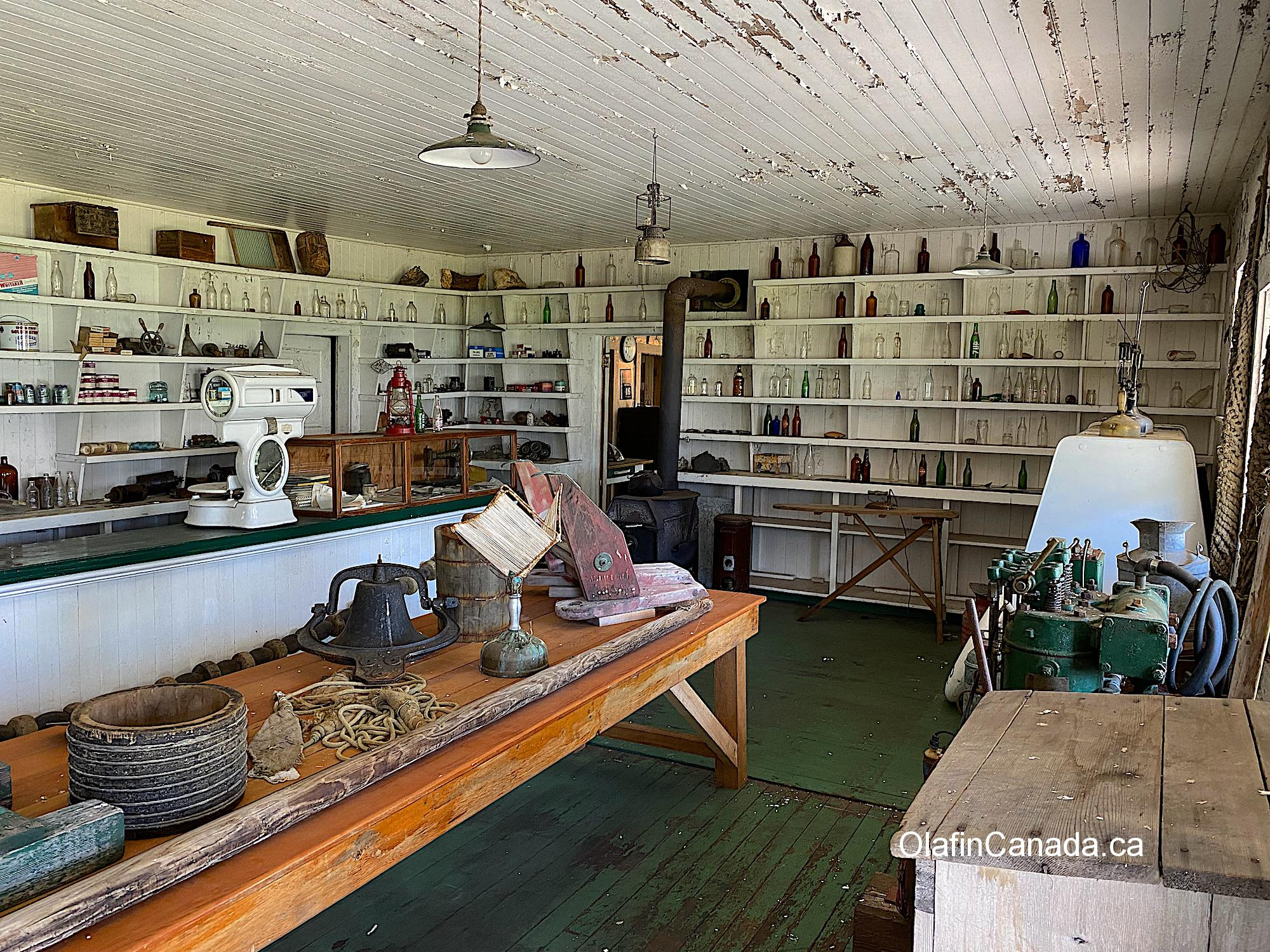 Items on the shelves in the shop at the Tallheo Cannery in Bella Coola #olafincanada #britishcolumbia #discoverbc #abandonedbc #tallheocannery #bellacoola