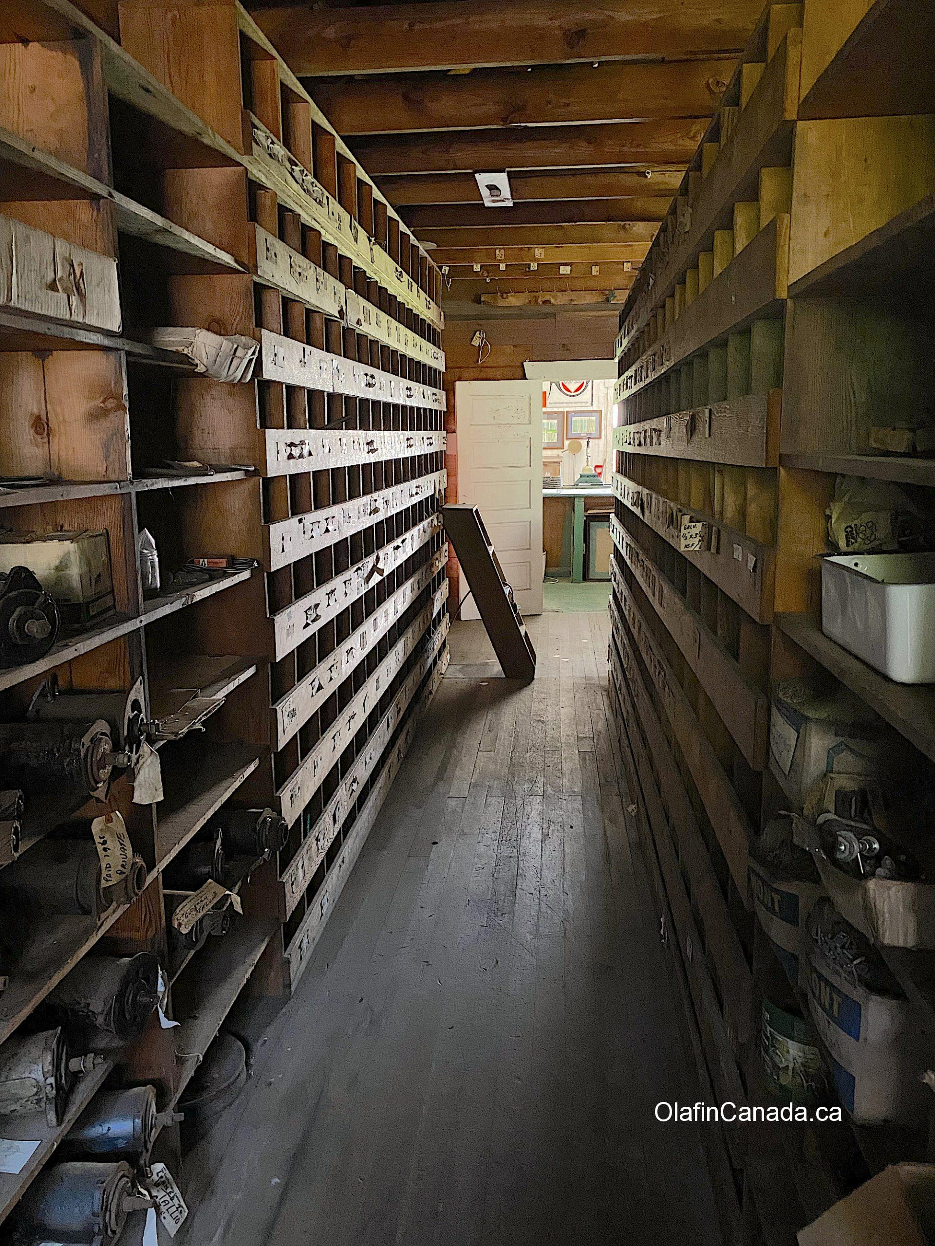 Storage room behind the shop of the Tallheo Canery #olafincanada #britishcolumbia #discoverbc #abandonedbc #tallheocannery #bellacoola