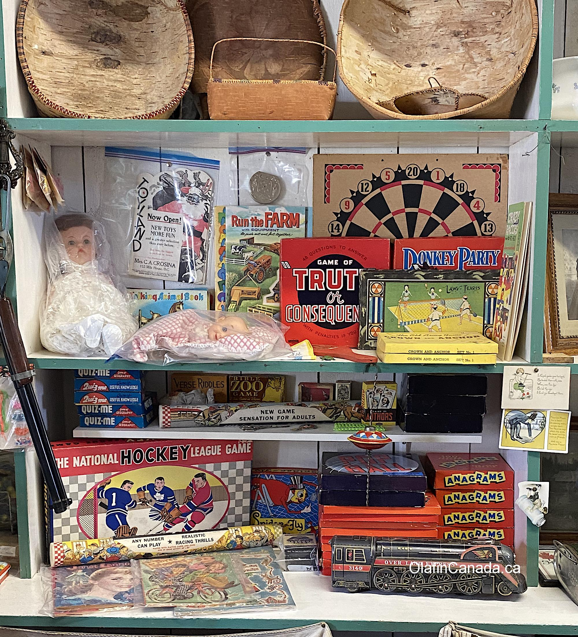 Old games and toys at the General Store in 153 Mile House #olafincanada #britishcolumbia #discoverbc #abandonedbc #153milehouse #generalstore #backintime