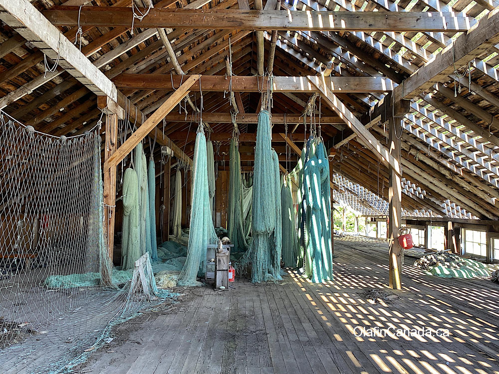 Nets hanging to dry on the first floor of the cannery #olafincanada #britishcolumbia #discoverbc #abandonedbc #tallheocannery #bellacoola